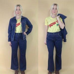 Retro 1970s cropped flares w/ jacket two piece set